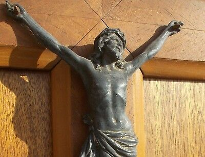 Antique French Crucifix Cross Jesus Corpus Statue Figure Metal and Wood