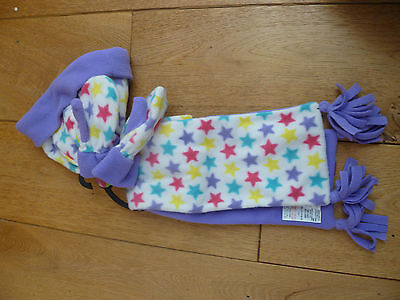 Marks And Spencer White Purple Yellow Star Print Fleece Hat Mittens Gloves Scarf