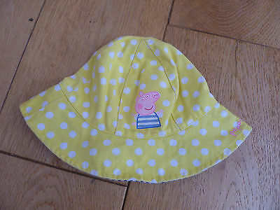 Marks And Spencer Yellow Dot Peppa Pig Sun Hat Stripey Lining 3 6 Months New