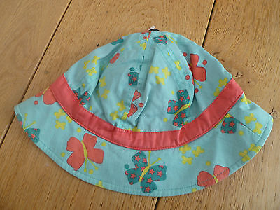 Marks And Spencer Reversible Aqua Butterflies Coral Pink Summer Sun Hat 6 18 Mo