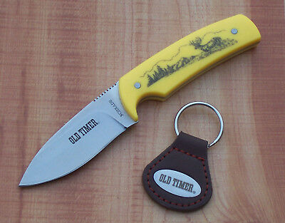SCHRADE OLD TIMER YELLOW SCRIMSHAW DEER HUNTING KNIFE with KEYCHAIN & SHEATH NEW