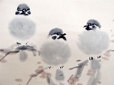 Vintage Japanese Hanging Scroll Painting Cute Sparrows Signed & Seal #85