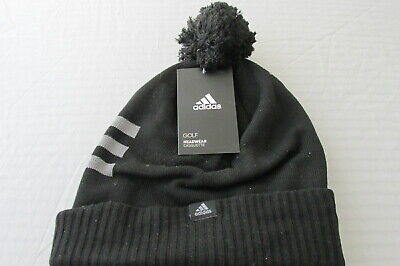 7f113e767d7 New Adidas Golf Beanie Mens Thermal Knitted Hat Pom Pom Black One Size  F12 2814