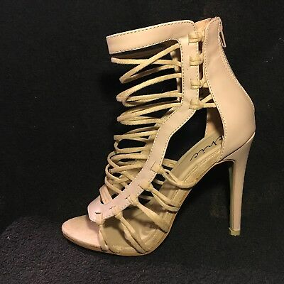 CHIC beige faux leather & suede lace strap high open toe stiletto shoes UK 6 NEW