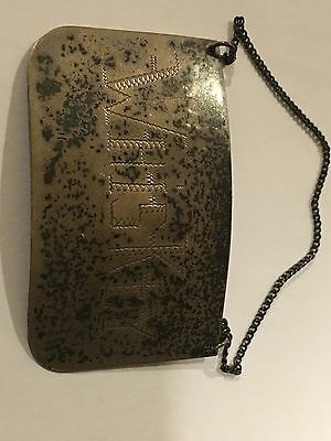 Antique Mexico Sterling Silver Whiskey Decanter Tag