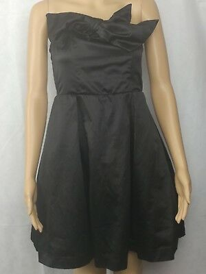 Kate Young for Target Womens Party Dress Size 4 Black Satin Strapless Bow Tulle