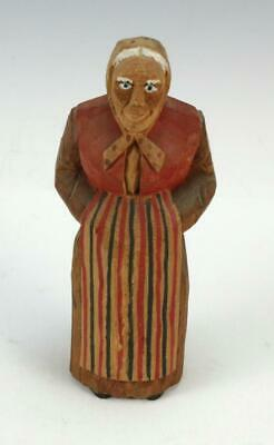 Vtg Hand-Carved Wooden Wood Figure Old Woman Lady Sweden Canada Germany Folk Art