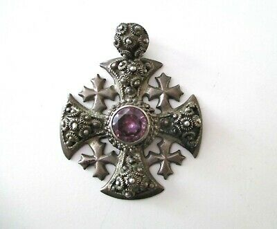 Antique JERUSALEM HOLY LAND FILIGREE SILVER CRUSADERS CROSS AMETHYST PENDANT