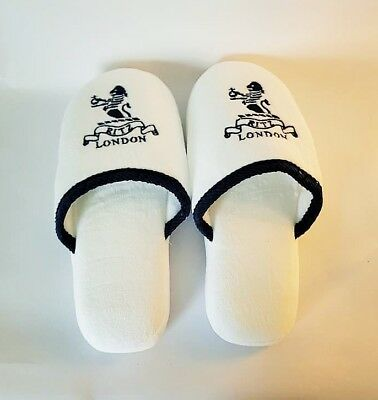Womens The Ritz London Plush White Embroidered Non Slip Slippers Size 5-7 New