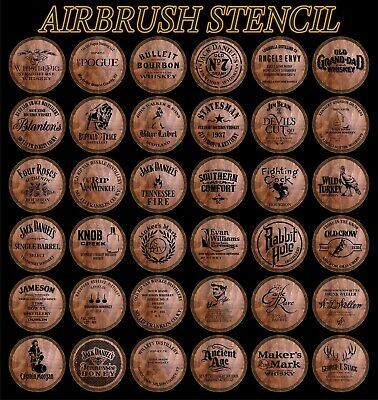 Airbrush Stencil 4Barrel Jack Daniels, Statesman, Makers Mark, Buffalo Trace