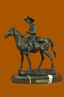 OLD WEST COWBOY WITH HORSE BRONZE SCULPTURE WESTERN ART Thomas FIGURINE HOT CAST