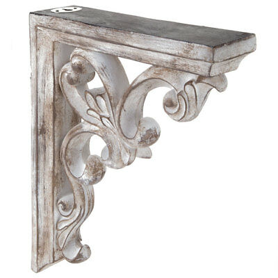 Distressed White Ornate Flourish Corbel Set of 2 Classic vibes to your space