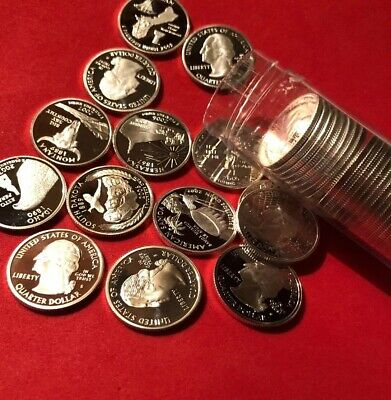 Mix Lot Of Ten ATB Gem Proof Cameo Silver Quarters 90%Silver-2000-2018 ATB Lot