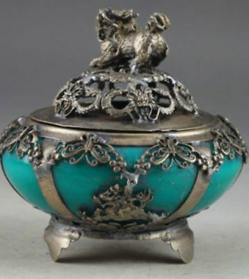 characteristics jade Chinese old retro hand carved kylin incense burner