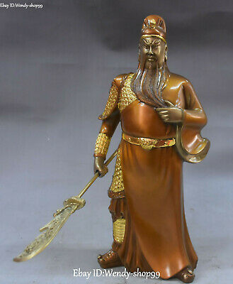 "10"" Bronze Painting Ancient General Dragon Knife Guan Gong Yu Warrior God Statue"