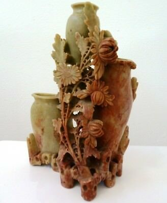 Old Chinese Carved Bird and Flower Large Nephrite or Soapstone Vase