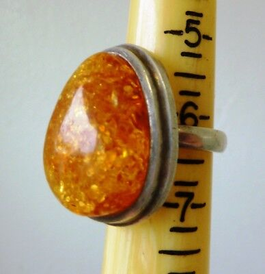 Antique Museum Quality Art Deco Sterling Silver Baltic Golden Amber Ring