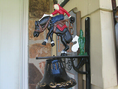 Cast Iron Bucking Horse with Cowboy Bell Mounted, Rustic Western Decor