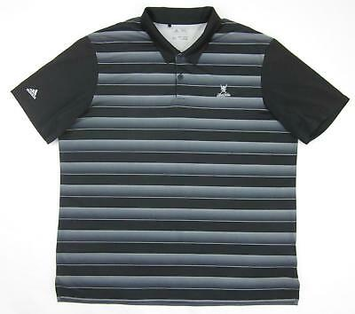 Adidas Golf Polo LAKE NONA Black Gray Gradient Stripe Moisture Wicking XL