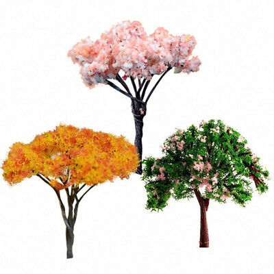 3pc Mini Tree for Miniature Dolls' House Garden Plant Fairy Ornament Pink/Orange
