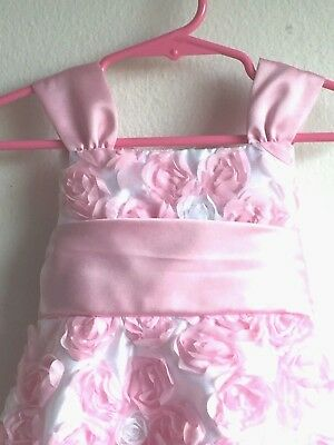 3d5b8e0ff RARE EDITIONS GIRL'S/TODDLERS DRESS Size 2T Pink & White Rose Petals FREE  ...