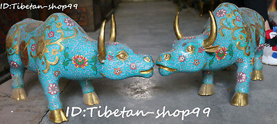 "22"" China Cloisonne Enamel Gilt Fengshui Wealth Cattle Bull Cow Ox Animal Pair"