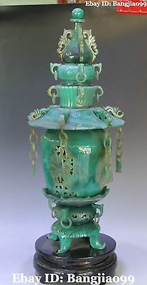"""20"""" Exquisite Chinese Agate Dragon Flower Incense Burner Incensory Censer Statue"""