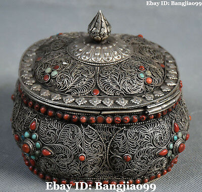 Collect Tibet Old Silver Filigree Inlay Coral Gem Jewel Case Jewelry Box Boxes