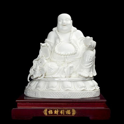 "13"" Chinese Dehua Porcelain Happy Laugh Maitreya Buddha Wealth Yanbao Bat Statue"