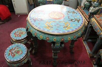 "30""Antique Furniture Cloisonne Bronze Dragon Round Table Desk 4 chair stool Set"