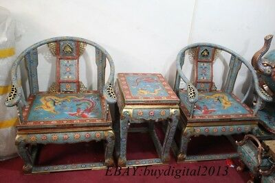 Huge Chinese Royal Dynasty Bronze cloisonne Dragon phoenix tablet chair Set