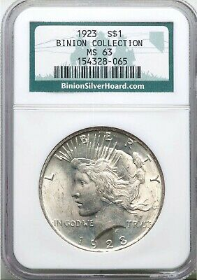 1923 NGC MS63 Binion Collection Peace Silver Dollar Bright and Lustrous BU