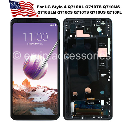 F LG Stylo 4 Q710MS Q710AL LCD Display Touch Screen Digitizer Replacement Frame