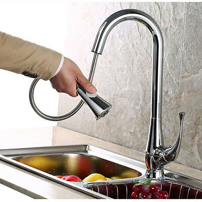 Kitchen Faucet 360° Rotatable Pull Out Spray Hot&Cold Water Basin Sink Mixer Tap