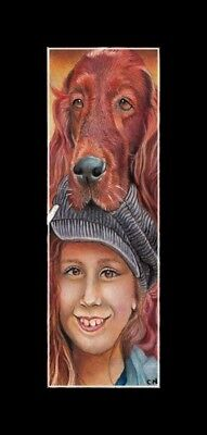"""original double lenght aceo"""" girl and irish setter dog"""" painting love nadia"""