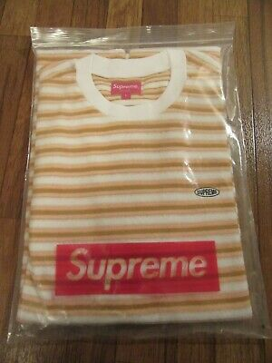4807a3ae60 Supreme Multi Stripe Terry Tee T-Shirt Size Large White SS18 SS18KN25 Brand  New