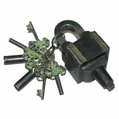 Brass 6 Key Square Trick Puzzle Padlock - Black Finish (3 Keys x 2)