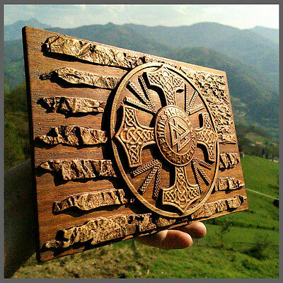American Patriot Flag Viking Plaques Decor Art Norse Odin Wood Picture Pagan