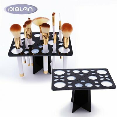 DIOLAN 12x Pro Makeup Brushes With Bag + 28Hole Mix Size Brush Drying Rack Combo
