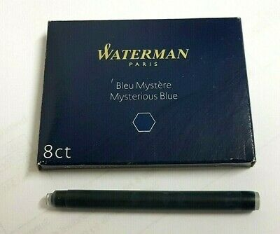 Waterman Fountain Pen Long Ink Cartridges 8/Pack Mysterious Blue/Black S0110910