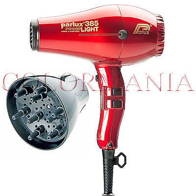 Parlux 385 Powerlight Rosso Phon Professionale Parrucchiere + Diffusore