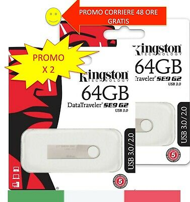 Chiavetta 16/32/64 GB Pendrive Usb  2.0/3.0/3.1 Memoria Kingston DTSE9 /DT 106