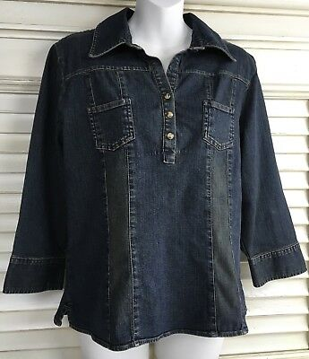 Old Navy Women's Size L Pullover Jean Top Blouse Snap Buttons Spandex/Cotton