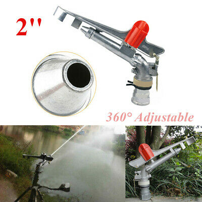 "Irrigation Spray Gun 2"" Sprinkler Large Impact Area 360° Adjustable Water Silver"
