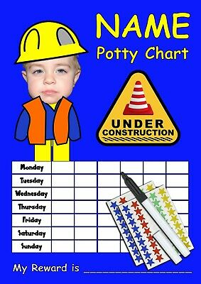 Boys Blue Toilet Potty Training Reward Chart Personalised Picture & Name