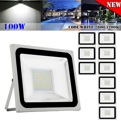 10 x 100W LED Floodlight SMD Flood Light Outdoor IP65 Cool White Spotlight Lamps