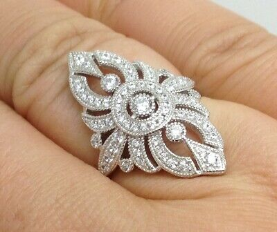 Art Deco style solid Sterling Silver sparkly cubic zirconia ring, U.K. seller.