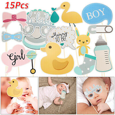 15pcs Oh Baby Photo Booth Props Birthday Baby Shower Party Decoration Unisex