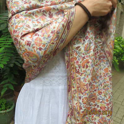 Cream Floral Paisley  Kani Shawl/Stole/cashmere/silk/2 ply/WITHOUT POMPOMS/STOLE