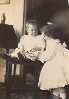 READ TO ME, SISSY SISTER GIRL w/ BABY BOY BROTHER DRESS Vtg Antique Photo S32